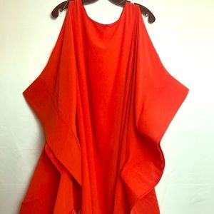 Bold orange Dress flare arm's stunning style SZ L